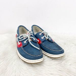 Sperry Blue Red Leather Mesh Boat Shoes
